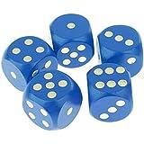 B Baosity 5個 D6ダイス サイコロ 木製 ゲーム 小道具 全6色 - 青
