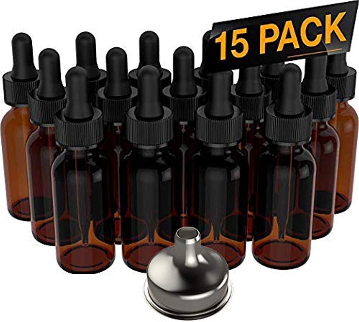 見込み孤独なボリューム15 Pack Essential Oil Bottles - Round Boston Empty Refillable Amber Bottle with Glass Dropper [ Free Stainless...