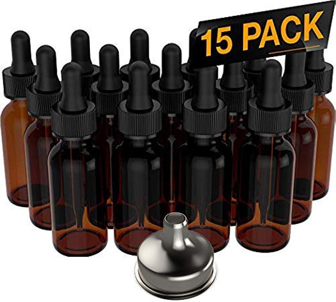 代表年金受給者差し引く15 Pack Essential Oil Bottles - Round Boston Empty Refillable Amber Bottle with Glass Dropper [ Free Stainless...