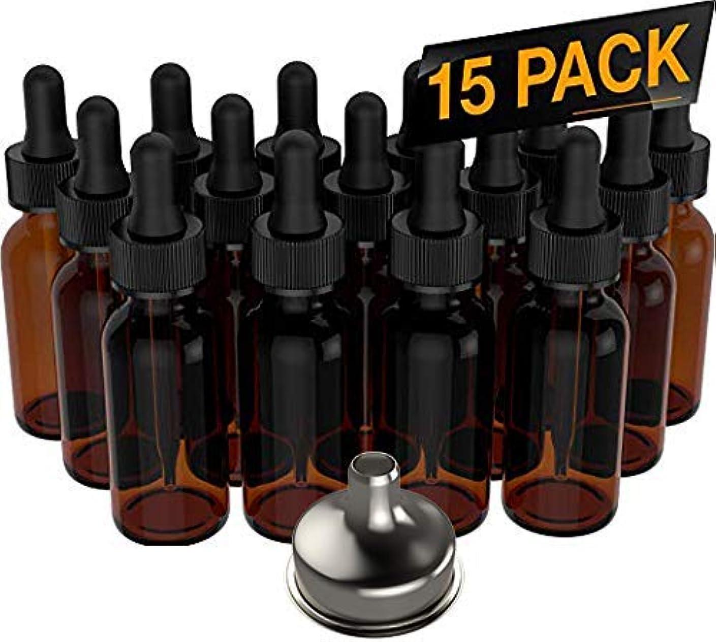 受粉する便利さスイッチ15 Pack Essential Oil Bottles - Round Boston Empty Refillable Amber Bottle with Glass Dropper [ Free Stainless...