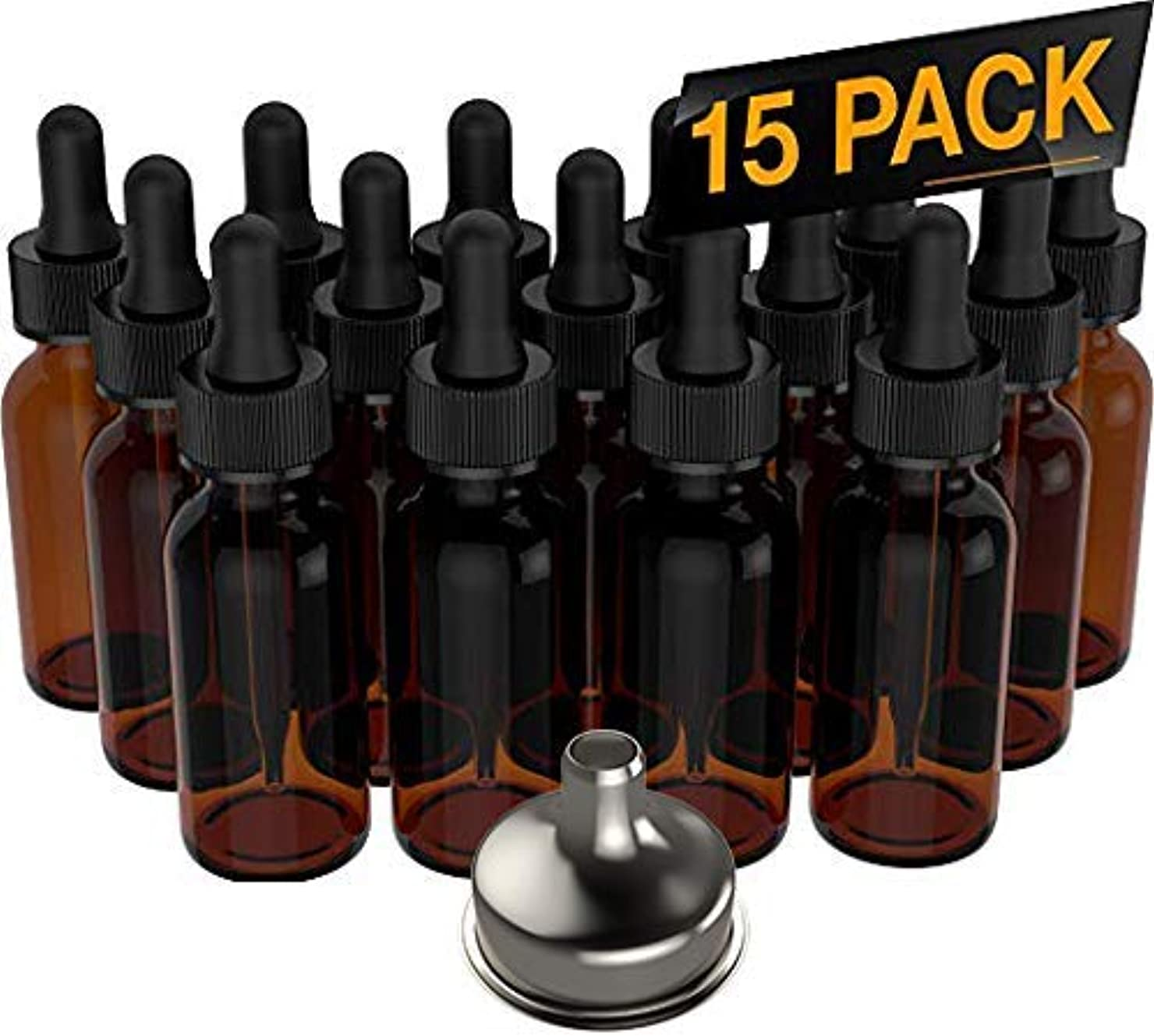 15 Pack Essential Oil Bottles - Round Boston Empty Refillable Amber Bottle with Glass Dropper [ Free Stainless...