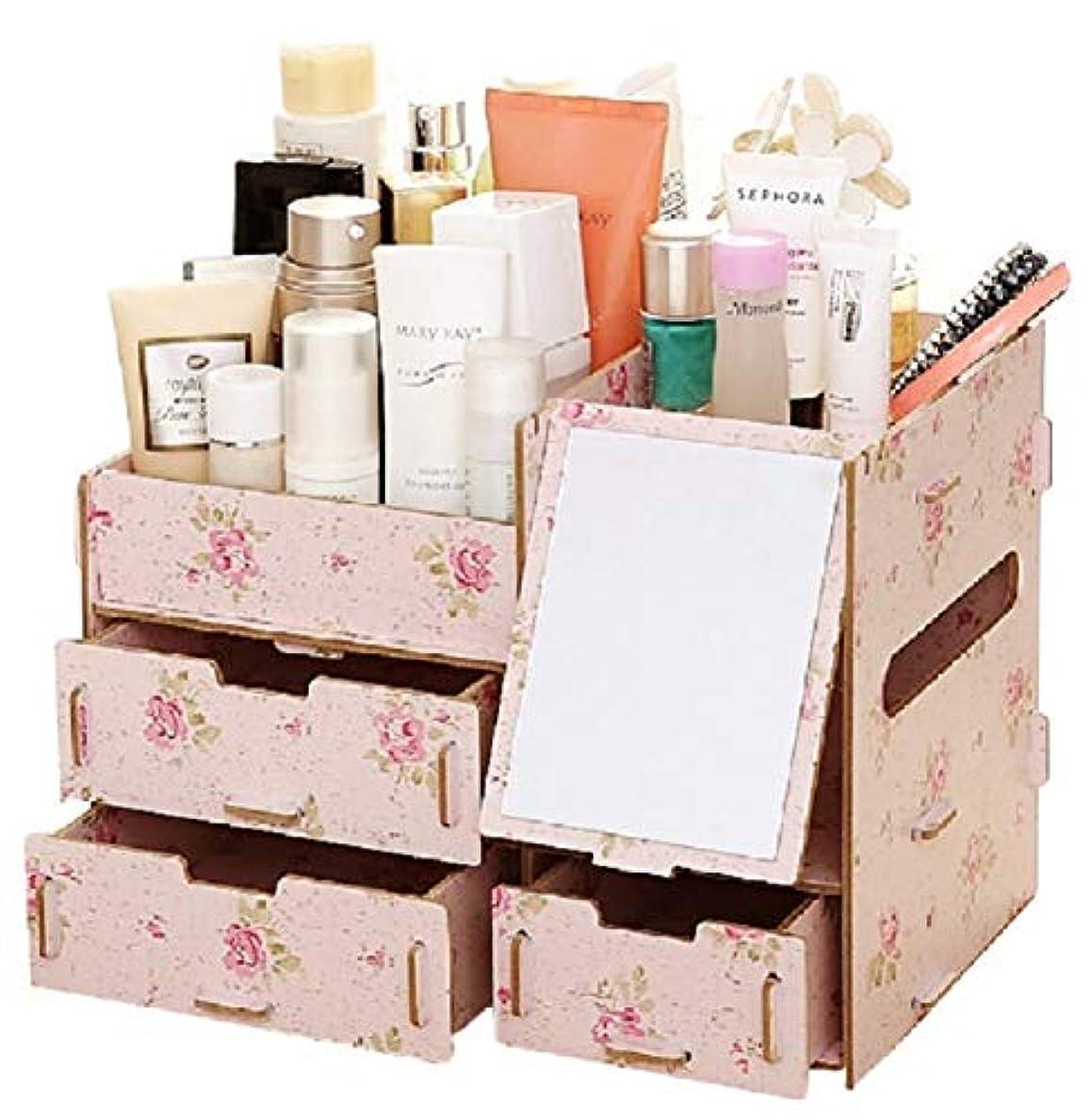 そうアルバム福祉(ミウォルナ) Miwoluna 化粧品 コスメ ジュエリー 収納 ボックス スタンド メイクボックス 木製 組み立て式 (鏡付き ツバキ)