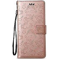 Galaxy Note 8 ケース、Dfly 高級 PU レザー エンボス加工 ユニコーン 設計 磁気 閉鎖 そして スタンド 関数 カード スロット スリム フリップ 財布 カバー、Samsung Galaxy Note 8 6.3インチ、 ローズゴールド