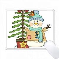 クリスマスツリーと鳥のイラストでかわいいハッピースノーマン PC Mouse Pad パソコン マウスパッド