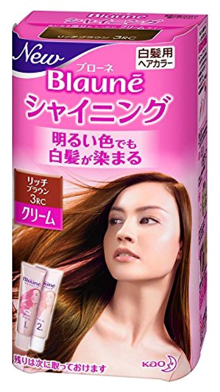 たくさんブロー散る【花王】ブローネ シャイニングヘアカラー クリーム3RC リッチブラウン ×10個セット