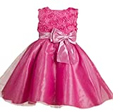 C-Princess子供ドレス キッズドレス ワンピース 女の子 女児 ガールズ フォーマル 発表会 結婚式 入園式 演奏会 リボン飾り (90, Aローズ)