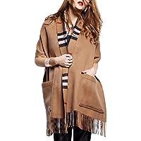 Women's Plaid Shawl Wrap Pocket Open Front Poncho Cape