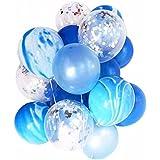 YSAK 風船 バルーン パーティー ウェディング 誕生日 結婚式 飾り マーブル 1セット20個入り (青)