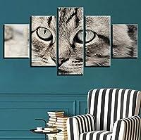 Jason Ming ポスター壁アートHd写真家の装飾ベッドサイドの背景現代額装5ピースラブリー猫リビングルームプリント動物絵画