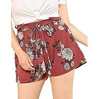 Floerns Women's Casual Plus Size Floral Shorts Elastic Waist Loose Shorts