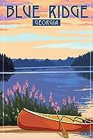 Blue Ridge、ジョージア–カヌー、湖 24 x 36 Signed Art Print LANT-75879-710