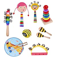 Kesoto 全6種類 キッズ楽器 幼児音楽楽器おもちゃ 木製パーカッションセット - 9個-2