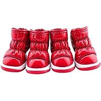 Etopfashion ペット用 靴 犬用 褶曲 シューズ ハイウエスト レインブーツ 滑り止め 肉球保護 裏綿 保暖 雨靴 4個セット 4色5サイズ ドッグシューズ 犬靴