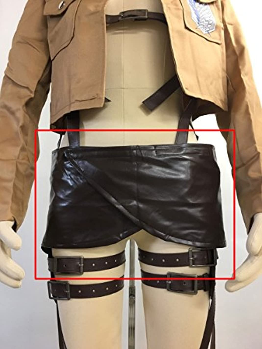 ジョイントモッキンバード所得進撃の巨人 調査兵団 腹巻き 革 コスプレ衣装 ダーク ブラウン フリーサイズ