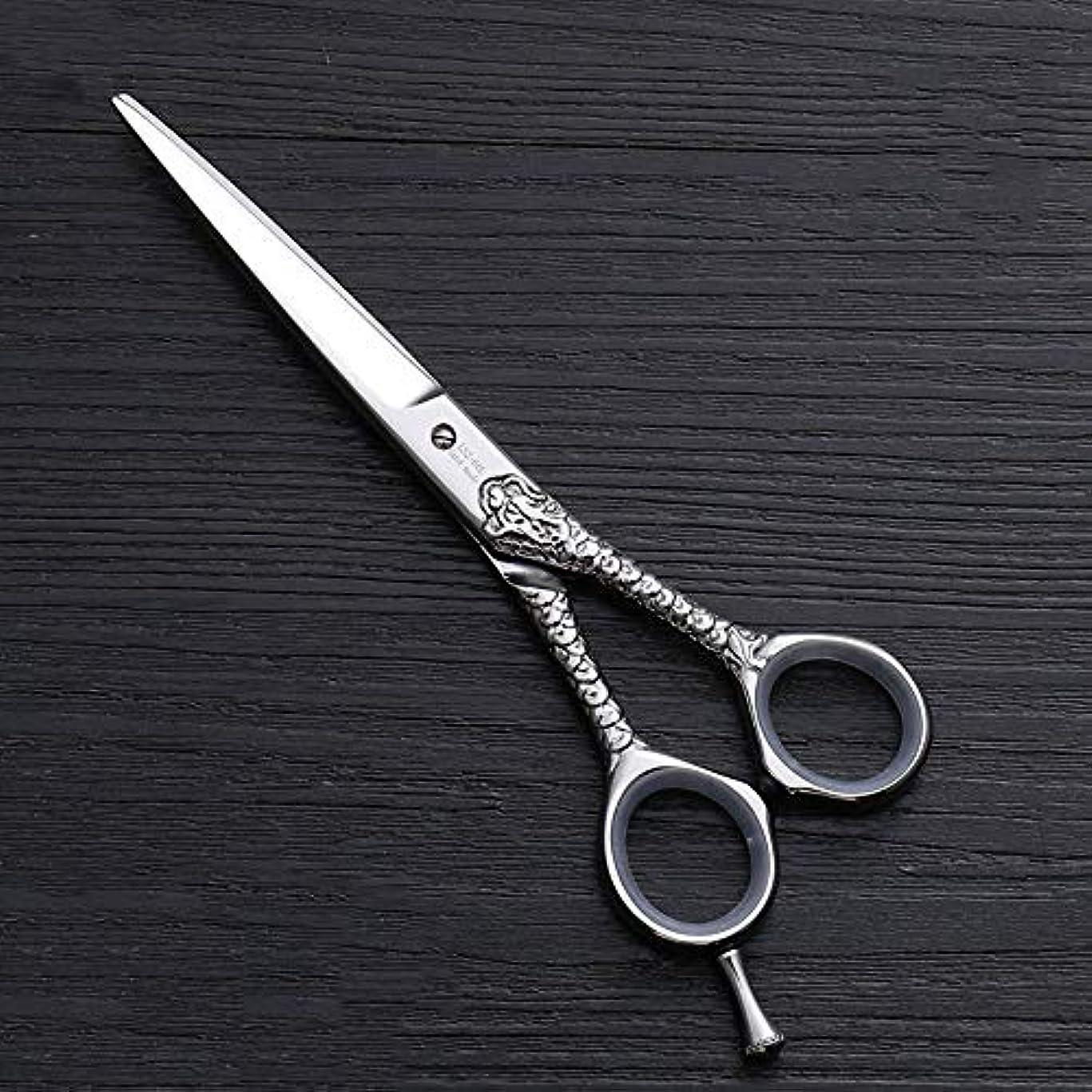 シビックポイントのれんハイエンドのパーソナライズされたプロのバリカン、6.0インチストレートプロのカット理髪はさみ ヘアケア (色 : Silver)