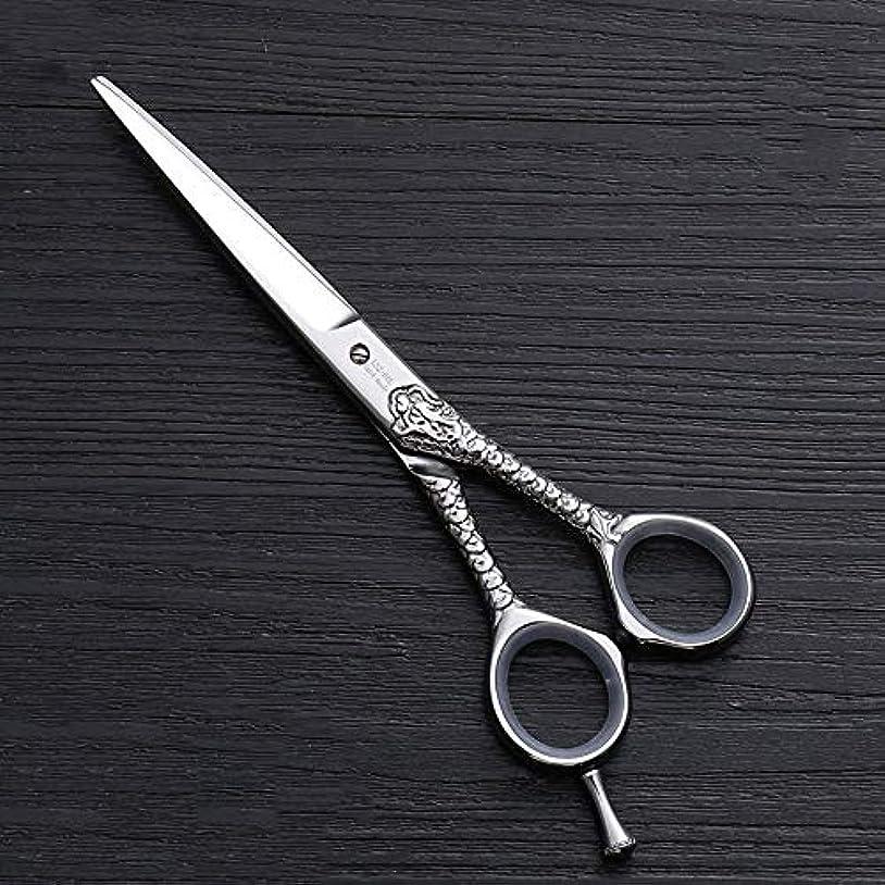 文法歪める食料品店ハイエンドのパーソナライズされたプロのバリカン、6.0インチストレートプロのカット理髪はさみ モデリングツール (色 : Silver)
