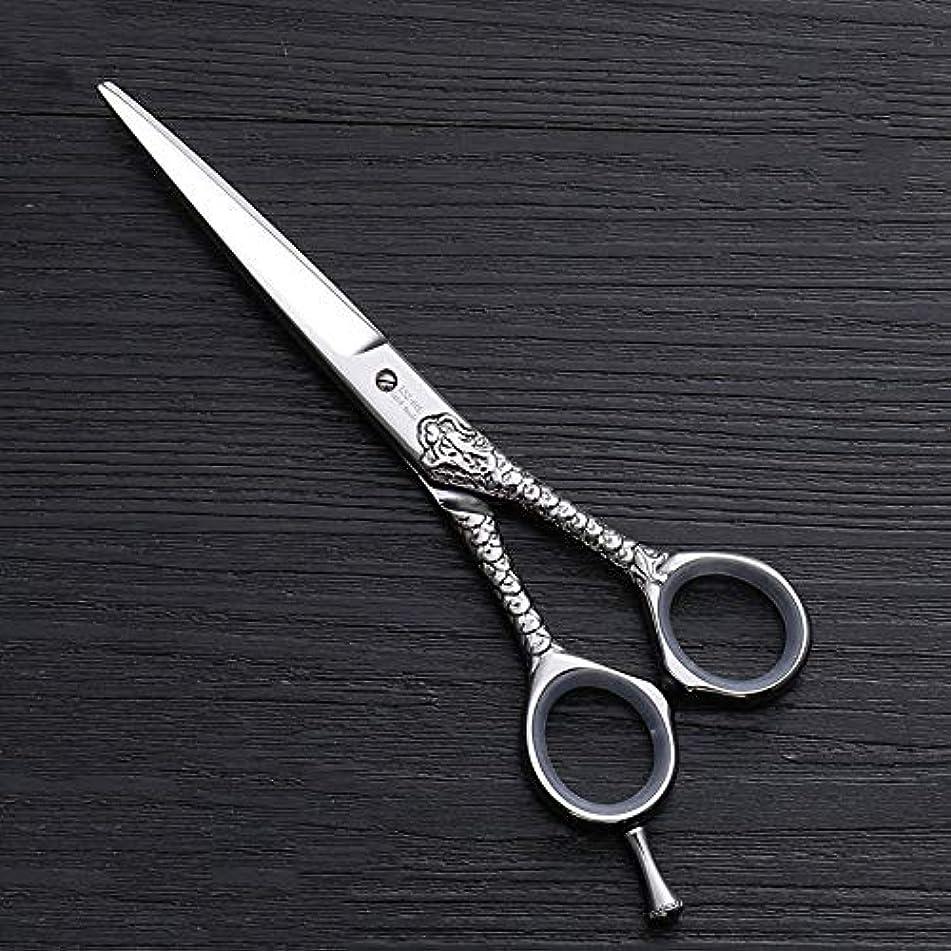ほのか港福祉ハイエンドのパーソナライズされたプロのバリカン、6.0インチストレートプロのカット理髪はさみ モデリングツール (色 : Silver)