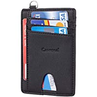 Casmonal Genuine Leather Slim Minimalist Front Pocket Wallets RFID Blocking Credit Card Holder for Men & Women