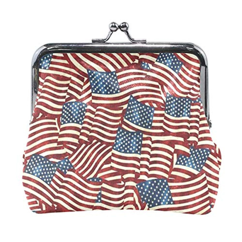 がま口 小銭入れ 財布 アメリカの国旗 コインケース レザー製 丸形 軽量 人気 おしゃれ プレゼント ギフト 雑貨