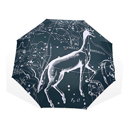 HMWR(ヒマワリ) おしゃれ 神話 星座柄 宇宙柄 星空 きりん座 アニマル柄 雑貨 レディース メンズ 子供用 三つ折り傘 折りたたみ傘 頑丈な8本骨 耐強風 軽量 撥水性 大きい 手動開閉 雨傘 日傘 晴雨兼用 収納ケース付 携帯用 かさ
