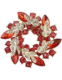 Baoblaze 1ピース 魅力的 ファッション 花輪 ブローチ クリスタル ジュエリー パーティー アクセサリー ギフト