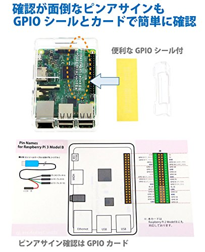 『Raspberry Pi3 Model B+ ボード&ケースセット 3ple Decker対応-Physical Computing Lab (Clear)』の7枚目の画像
