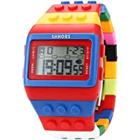 SHHORS Block Silicone LCD Digital Light Men's Ladies Sport Watch Red Blue
