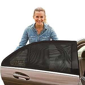 SUCOOL 車中泊 車用網戸 車用ネット 遮光サンシェード 虫除けウインドーネット ウィンドーバグネット 風を通す クルマ用網戸 エコネット アウトドア 左右1組(2枚入)