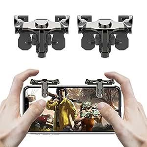 LAMPO®【日本ブランド/保証付】PUBG Mobile 荒野行動 ゲームパッド コントローラー スマホ用ゲームパッド 高感度な射撃用ボタン 銃弾節約 高速射撃 iPhone/Android (左右2枚セット入)