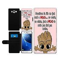 Samsung Galaxy J5 J510 2016 ケース Groot Hug ファンアート ボタン マグネット式 落下防止 衝撃吸収 財布型 ケース カバー スタイリッシュ 横置き 耐衝撃 傷つけ防止