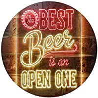 Best Beer is an Open One Bar Dual Color LED看板 ネオンプレート サイン 標識 Red & Yellow 8 x 12 Inches st6s23-i3407-ry