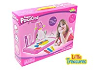 Little Treasures Drawing & Painting Pink Projector Painting Set - 3 in 1 high tech learning set including a table lamp, projection and painting with 3 lantern slides, 24 patterns and 12 water pens [並行輸入品]