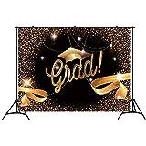 卒業パーティー 背景幕 バナー 7x5フィート 写真ブース小道具 2019 Congrats Grad Prom デコレーション ブラックとゴールド バチェラーキャップ リボン 写真背景