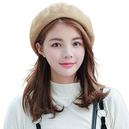 【TaoTech】 ベレー帽 ウール フェルト 無地 画家帽 帽子 男女兼用 (ベージュ, フリーサイズ)