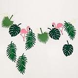 LAPOPNUT オシャレ バナー 自然風 夏向け 木の葉 フラミンゴ ジャングル風 誕生日 結婚式 パーティー 部屋飾り