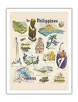フィリピン - カンタス航空 - ビンテージな世界旅行のポスター c.1962 - アートポスター - 51cm x 66cm