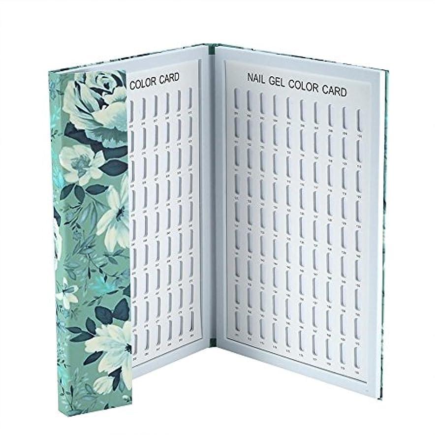 カラーチャート ネイル - Delaman ネイル 色見本、ブック型、180色、カラーガイド、ジェルネイル、サンプル帳、ネイルアート、サロン、青/緑 (Color : 緑)