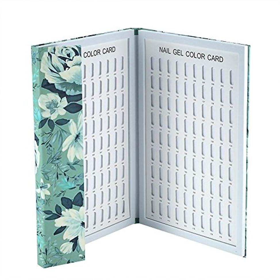 流前方へ人道的カラーチャート ネイル - Delaman ネイル 色見本、ブック型、180色、カラーガイド、ジェルネイル、サンプル帳、ネイルアート、サロン、青/緑 (Color : 緑)