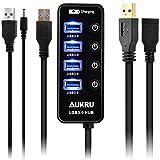 Aukru USB3.0 ハブ 4ポート + USB3.0 延長ケーブル 高速 USB HUB セルフパワー 電源スイッチ DC 5V 1m給電用ケーブル 付