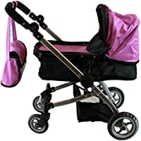 Babyboo Luxury Leather Look Doll Pram with Swiveling Wheels & Adjustable Handle and Free Carriage Bag - 9651B Purple