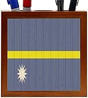 Rikki Knight Nauru Flag on Distressed Wood Design 5-Inch Wooden Tile Pen Holder (RK-PH8756) [並行輸入品]