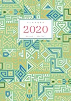Planner 2020 Weekly Monthly: A5 Full Year Notebook Organizer Small | 12 Months - Jan to Dec 2020 | Creative Tribal Geometric Design Green