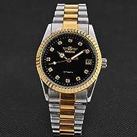 HWCOO 時計 WINNER002ゴールデンスチールベルトウォッチ、ダイヤモンドカレンダー手動機械式時計 (Color : 2)