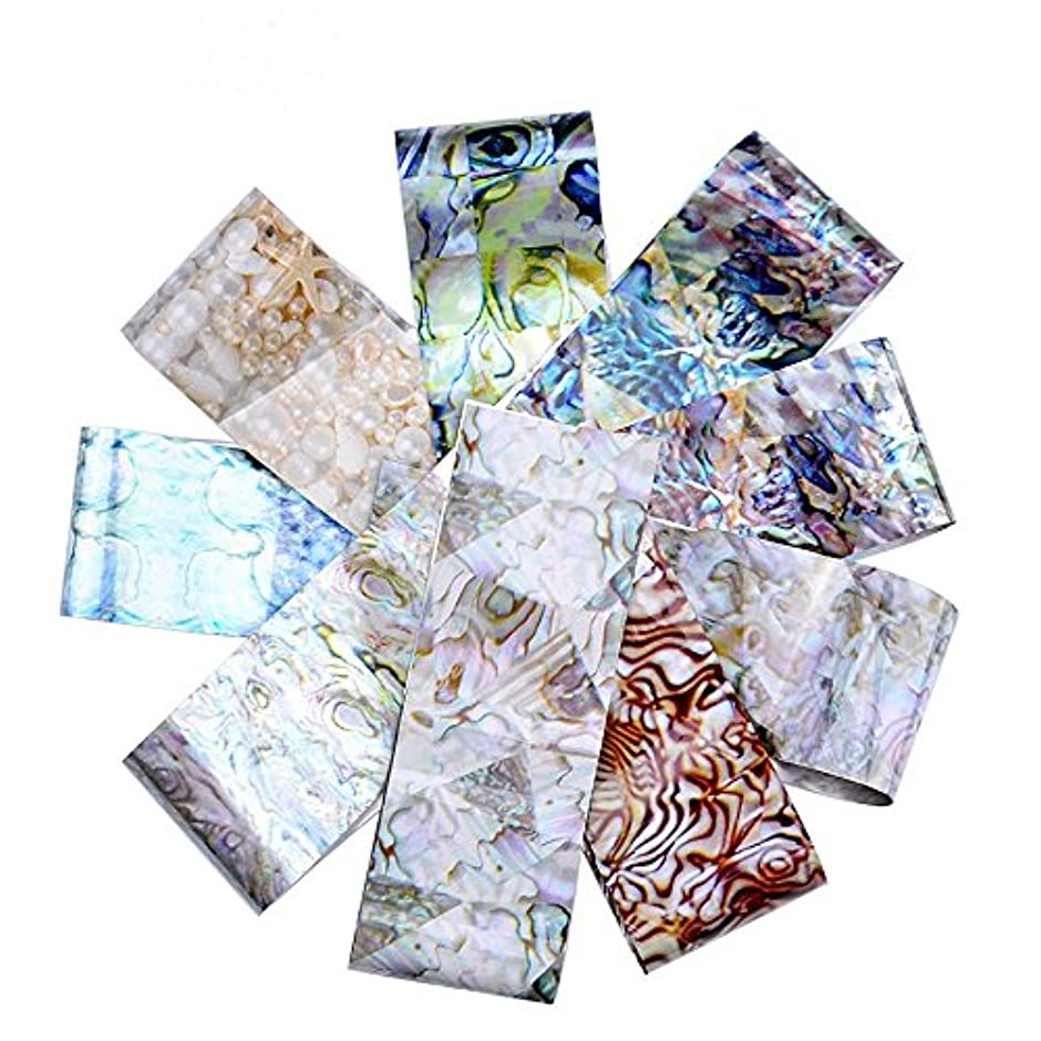 割れ目移住するによってアートラリック16枚グラデーション迷路シェル大理石デザインネイルステッカー4 * 20cm転写ホイルステッカー