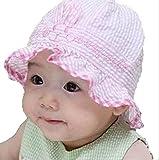 On Dolce 赤ちゃん の 日よけ 帽子 女の子 男の子 紫外線 防止 お出かけ用 ベビー ハット 新生児 ボーダー柄 BH004 (全布タイプ ピンク)