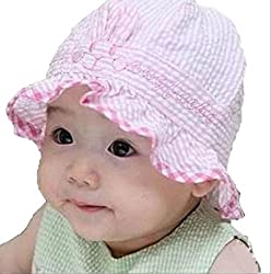 On Dolce 赤ちゃん の 日よけ 帽子 女の子 男の子 紫外線 防止 お出かけ用 ベビー ハット 新生児 ボーダー柄 BH004 (全布タイプ 赤)