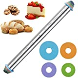 PROKITCHEN 23.6 Inch Rolling Pin with Thickness Rings-Adjustable Stainless Steel Roller Guides Spacers Baking Tools for Dough