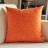 VANCORE 暖しい純色 北欧のシンプルデザイン 無地 クッションカバー 亜麻 座布団 車やソファー用枕カバー(7色4サイズ) 60*60 オレンジの写真