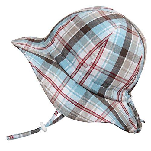 キッズ UPF50+ 紫外線防止 帽子 サイズ調整可能 あごひも付き(M: 6ヶ月〜3歳, 夏のチェック柄)