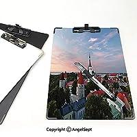 クリップボード 用箋挟 クロス貼 A4 短辺とじ ワンダーラストの装飾 フォルダーボードフォルダーライティングボード (2パック)夕日の光がタリン旧市街の中心部にある雲を彩るエストニアの風景写真